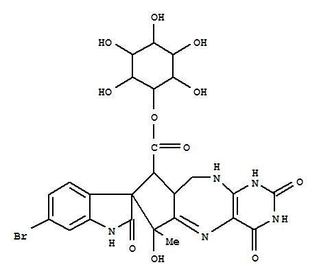 99102-40-6,D-myo-Inositol,4-[(3'R,6S,8S,8aR)-6'-bromo-1,1',2',3,4,6,8,8a,9,10-decahydro-6-hydroxy-6-methyl-2,2',4-trioxospiro[cyclopenta[e]pyrimido[4,5-b][1,4]diazepine-7(2H),3'-[3H]indole]-8-carboxylate](9CI),D-myo-Inositol,4-(6'-bromo-1,1',2',3,4,6,8,8a,9,10-decahydro-6-hydroxy-6-methyl-2,2',4-trioxospiro[cyclopenta[e]pyrimido[4,5-b][1,4]diazepine-7(2H),3'-[3H]indole]-8-carboxylate),[6S-(6a,7a,8a,8aa)]-; Spiro[cyclopenta[e]pyrimido[4,5-b][1,4]diazepine-7(2H),3'-[3H]indole],D-myo-inositol deriv.; Prosurugatoxin