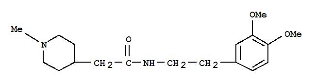 33016-44-3,4-Piperidineacetamide,N-[2-(3,4-dimethoxyphenyl)ethyl]-1-methyl-,4-Piperidineacetamide,N-(3,4-dimethoxyphenethyl)-1-methyl- (8CI); N-(3,4-Dimethoxyphenethyl)-a-(1-methyl-4-piperidyl)acetamide; NSC 351564