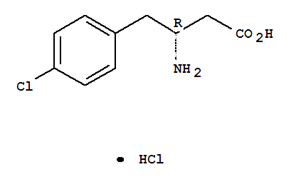 Molecular Structure of 331763-59-8 (Benzenebutanoic acid, b-amino-4-chloro-,hydrochloride (1:1), (bR)-)