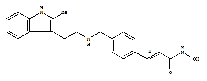 Molecular Structure of 404950-80-7 (2-Propenamide,N-hydroxy-3-[4-[[[2-(2-methyl-1H-indol-3-yl)ethyl]amino]methyl]phenyl]-, (2E)-)