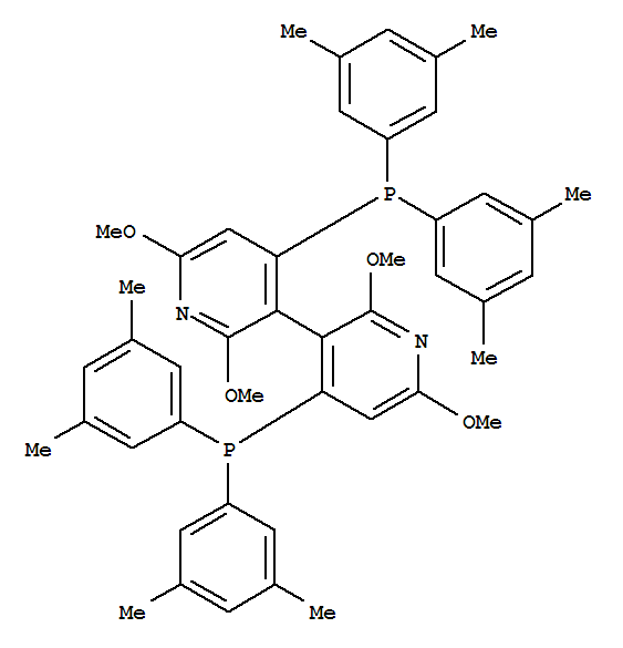 Molecular Structure of 443347-10-2 (3,3'-Bipyridine,4,4'-bis[bis(3,5-dimethylphenyl)phosphino]-2,2',6,6'-tetramethoxy-,(3S)-)