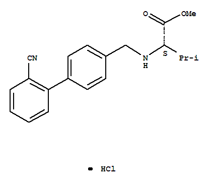 Molecular Structure of 482577-59-3 (L-Valine,N-[(2'-cyano[1,1'-biphenyl]-4-yl)methyl]-, methyl ester, hydrochloride (1:1))