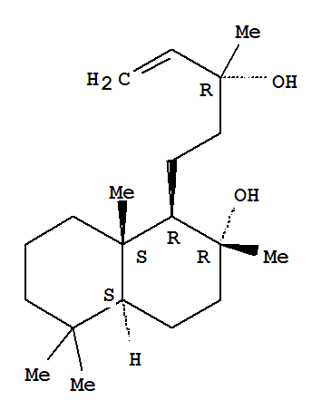 Molecular Structure of 515-03-7 (1-Naphthalenepropanol,a-ethenyldecahydro-2-hydroxy-a,2,5,5,8a-pentamethyl-,(aR,1R,2R,4aS,8aS)-)