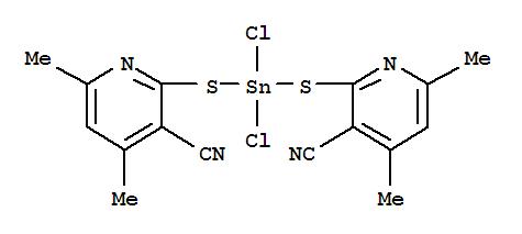 54364-13-5,3-Pyridinecarbonitrile,2,2'-[(dichlorostannylene)bis(thio)]bis[4,6-dimethyl- (9CI),Dichlorobis(3-cyano-4,6-dimethyl-2-pyridylthio)tin; NSC 293374