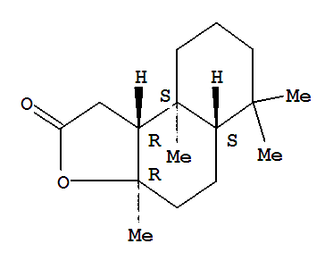 Molecular Structure of 564-20-5 (Naphtho[2,1-b]furan-2(1H)-one,decahydro-3a,6,6,9a-tetramethyl-, (3aR,5aS,9aS,9bR)-)