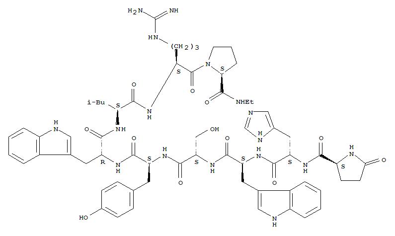 57773-65-6,Deslorelin,Luteinizinghormone-releasing factor (pig),6-D-tryptophan-9-(N-ethyl-L-prolinamide)-10-deglycinamide-;Bachem 9022;D-TrpLHRH-PEA;D-Trp6-Pro9-N-ethylamide-LH-RH;