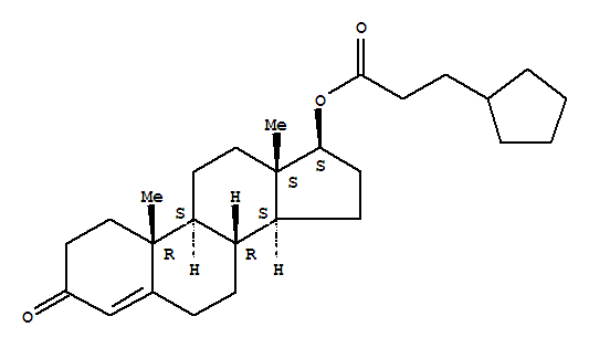 Molecular Structure of 58-20-8 (Androst-4-en-3-one,17-(3-cyclopentyl-1-oxopropoxy)-, (17b)-)