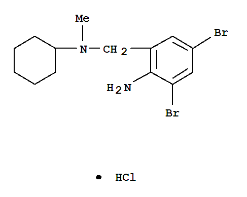 Molecular Structure of 611-75-6 (Benzenemethanamine,2-amino-3,5-dibromo-N-cyclohexyl-N-methyl-, hydrochloride (1:1))