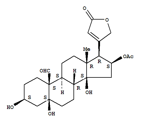 6980-15-0,Card-20(22)-enolide, 16-(acetyloxy)-3,5,14-trihydroxy-19-oxo-,(3b,5b,16b)- (9CI),5b-Card-20(22)-enolide, 3b,5,14,16b-tetrahydroxy-19-oxo-, 16-acetate (7CI,8CI); 16b-Acetoxystrophanthidin