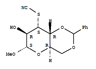 7147-81-1,Altropyranoside, methyl4,6-O-benzylidene-3-deoxy-3-thiocyanato-, a-D- (8CI),Altropyranoside, methyl4,6-O-benzylidene-3-deoxy-3-thiocyanato- (7CI); NSC 45625