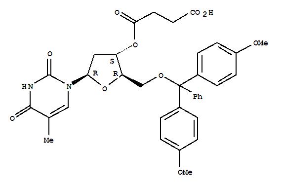 Molecular Structure of 74405-40-6 (Thymidine, 5'-O-[bis(4-methoxyphenyl)phenylmethyl]-, 3'-(hydrogen butanedioate))