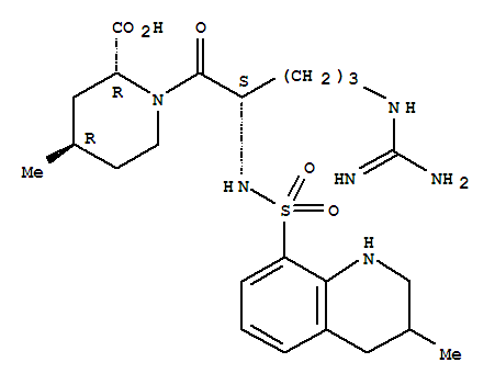 Molecular Structure of 74863-84-6 (2-Piperidinecarboxylicacid,1-[(2S)-5-[(aminoiminomethyl)amino]-1-oxo-2-[[(1,2,3,4-tetrahydro-3-methyl-8-quinolinyl)sulfonyl]amino]pentyl]-4-methyl-,(2R,4R)-)