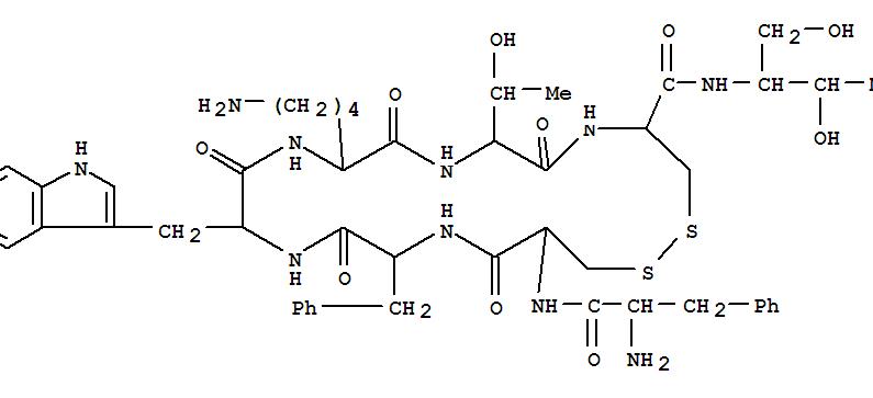83150-76-9,Octreotide acetate,11: PN:US20030229017 PAGE: 13 claimed protein;14: PN: DE10147056 PAGE: 40 claimedprotein;17: PN: US6268342 SEQID: 18 claimed protein;1: PN: EP1118336 SEQID: 1claimed protein;1: PN: WO2005007122 TABLE: 22 claimed protein;25: PN:WO2007081792 SEQID: 40 claimed protein;2: PN: EP1358890 TABLE: A claimedprotein;Longastatin;L-Cysteinamide,D-phenylalanyl-L-cysteinyl-L-phenylalanyl-D-tryptophyl-L-lysyl-L-threonyl-N-[2-hydroxy-1-(hydroxymethyl)propyl]-, cyclic (2?;