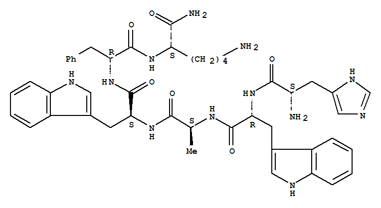 87616-84-0,L-Lysinamide,L-histidyl-D-tryptophyl-L-alanyl-L-tryptophyl-D-phenylalanyl-,Growth hormone-releasing peptide;His-D-Trp-Ala-Trp-D-Phe-Lys-NH2;SKF 110679;U 75799E;GHRP-6;