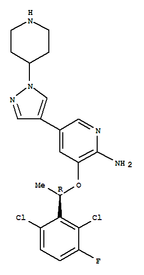 877399-52-5,Crizotinib,PF-02341066;[3-[[(R)-1-(2,6-Dichloro-3-fluorophenyl)ethyl]oxy]-5-[1-(piperidin-4-yl)-1H-pyrazol-4-yl]pyridin-2-yl]amine;3-[(1R)-1-(2,6-Dichloro-3-fluorophenyl)ethoxy]-5-[1-(piperidin-4-yl)-1H-pyrazol-4-yl]pyridin-2-amine;2-Pyridinamine,3-[(1R)-1-(2,6-dichloro-3-fluorophenyl)ethoxy]-5-[1-(4-piperidinyl)-1H-pyrazol-4-yl]-;