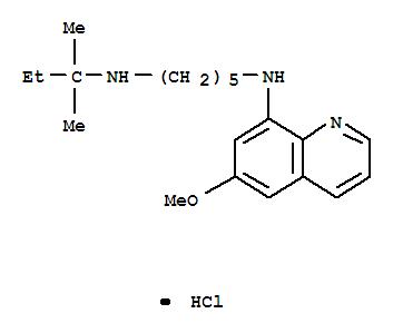 88755-65-1,1,5-Pentanediamine,N1-(1,1-dimethylpropyl)-N5-(6-methoxy-8-quinolinyl)-, hydrochloride (1:1),1,5-Pentanediamine,N-(1,1-dimethylpropyl)-N'-(6-methoxy-8-quinolinyl)-, monohydrochloride (9CI);Quinoline, 8-(5-tert-amylaminoamylamino)-6-methoxy-, -HCl (4CI); UM 131Q