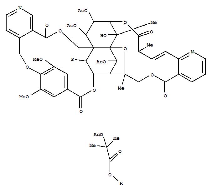 106999-79-5,Propanoic acid,2-(acetyloxy)-2-methyl-,(8R,9R,10R,26R,27S,28S,29S,32S,33Z,35R,36R,37R,39S)-35,36,37-tris(acetyloxy)-7,8,9,10,18,23,28,29,31,34-decahydro-28-hydroxy-15,40-dimethoxy-8,28,32-trimethyl-5,12,23,31-tetraoxo-8,27-epoxy-26,29-ethano-13,16-etheno-9,27:10,26-dimethano-5H,12H,25H-[1,6,12,17,23]pentaoxacyclotriacontino[28,29-b:15,14-c']dipyridin-39-ylester (9CI),Evonimine,O9,O15-dideacetyl-24,25-didehydro-8-deoxo-8-hydroxy-, cyclic 8,4:15,3-esterwith 4-[(4-carboxy-2,6-dimethoxyphenoxy)methyl]-3-pyridinecarboxylic acid,9-[2-(acetyloxy)-2-methylpropanoate], (8a,24Z)-; Cathedulin K 19; Catheduline K 19