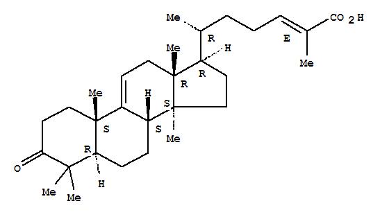 Molecular Structure of 107783-45-9 (Lanosta-9(11),24-dien-26-oicacid, 3-oxo-, (24E)- (9CI))