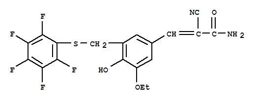 Molecular Structure of 107787-93-9 (2-Propenamide,2-cyano-3-[3-ethoxy-4-hydroxy-5-[[(2,3,4,5,6-pentafluorophenyl)thio]methyl]phenyl]-)