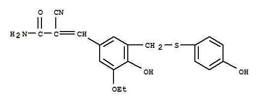 Molecular Structure of 107788-08-9 (2-Propenamide,2-cyano-3-[3-ethoxy-4-hydroxy-5-[[(4-hydroxyphenyl)thio]methyl]phenyl]-)