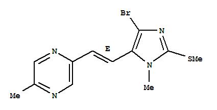 108905-66-4,Pyrazine,2-[2-[4-bromo-1-methyl-2-(methylthio)-1H-imidazol-5-yl]ethenyl]-5-methyl-, (E)-(9CI),