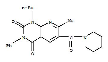 109493-41-6,Pyrido[2,3-d]pyrimidine-2,4(1H,3H)-dione,1-butyl-7-methyl-3-phenyl-6-(1-piperidinylcarbonyl)-,Piperidine,1-[(1-butyl-1,2,3,4-tetrahydro-7-methyl-2,4-dioxo-3-phenylpyrido[2,3-d]pyrimidin-6-yl)carbonyl]-(9CI); Pyrido[2,3-d]pyrimidine, piperidine deriv.