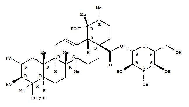 Molecular Structure of 109750-36-9 (Urs-12-ene-23,28-dioicacid, 2,3,19-trihydroxy-, 28-b-D-glucopyranosyl ester, (2a,3b,4b)-)