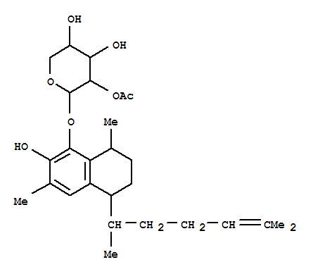 111397-51-4,a-Arabinopyranoside,(5R,8S)-5-[(1S)-1,5-dimethyl-4-hexenyl]-5,6,7,8-tetrahydro-2-hydroxy-3,8-dimethyl-1-naphthalenyl,2-acetate (9CI),a-Arabinopyranoside, 5-(1,5-dimethyl-4-hexenyl)-5,6,7,8-tetrahydro-2-hydroxy-3,8-dimethyl-1-naphthalenyl,2-acetate, [5R-[5a(S*),8b]]-; Secopseudopterosin B