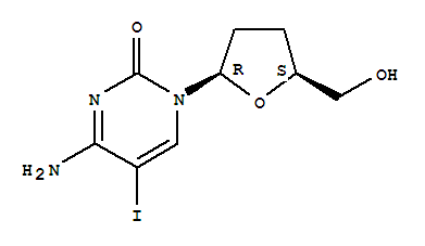 Molecular Structure of 114748-57-1 (Cytidine,2',3'-dideoxy-5-iodo-)