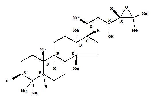 Molecular Structure of 115334-05-9 (Lanost-7-ene-3,23-diol,24,25-epoxy-, (3b,13a,14b,17a,20S,23R,24S)-)