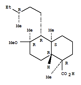 117138-44-0,1-Naphthalenecarboxylicacid, decahydro-6-methoxy-1,4a,6-trimethyl-5-[(3R)-3-methylpentyl]-,(1R,4aS,5R,6R,8aR)-,1-Naphthalenecarboxylicacid, decahydro-6-methoxy-1,4a,6-trimethyl-5-(3-methylpentyl)-, [1R-[1a,4ab,5b(R*),6a,8aa]]-; Oleanderoic acid