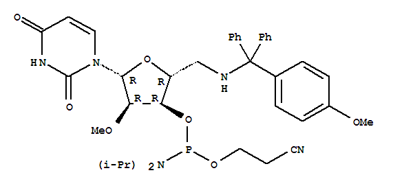 Molecular Structure of 194034-71-4 (Uridine,5'-deoxy-5'-[[(4-methoxyphenyl)diphenylmethyl]amino]-2'-O-methyl-,3'-[2-cyanoethyl bis(1-methylethyl)phosphoramidite] (9CI))