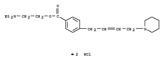 22344-59-8,Benzoic acid,4-[4-(1-piperidinyl)-2-buten-1-yl]-, 2-(diethylamino)ethyl ester, hydrochloride(1:2),Benzoicacid, 4-[4-(1-piperidinyl)-2-butenyl]-, 2-(diethylamino)ethyl ester,dihydrochloride (9CI); Benzoic acid, p-(4-piperidino-2-butenyl)-,2-(diethylamino)ethyl ester, dihydrochloride (8CI)