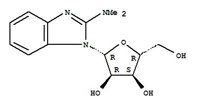 22423-45-6,1H-Benzimidazol-2-amine,N,N-dimethyl-1-b-D-ribofuranosyl-,Benzimidazole,2-(dimethylamino)-1-b-D-ribofuranosyl- (8CI); 2-Dimethylamino-1-(b-D-ribofuranosyl)benzimidazole; NSC 117216