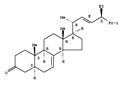 Molecular Structure of 23455-44-9 (Stigmasta-7,22-dien-3-one,(5a,22E)-)