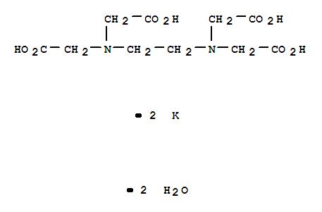 25102-12-9,Glycine,N,N'-1,2-ethanediylbis[N-(carboxymethyl)-, potassium salt, hydrate (1:2:2),Aceticacid, (ethylenedinitrilo)tetra-, dipotassium salt, dihydrate (8CI);Glycine,N,N'-1,2-ethanediylbis[N-(carboxymethyl)-, dipotassium salt, dihydrate (9CI);Ethylenediamine-N,N,N',N'-tetraacetic acid dipotassium salt, dihydrate;Ethylenediaminetetraacetic acid dipotassium salt dihydrate;