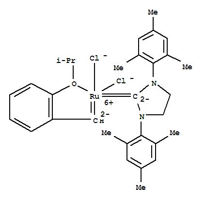 301224-40-8,[1,3-Bis(2,4,6-trimethylphenyl)-2-imidazolidinylidene]dichloro(2-isopropoxyphenylmethylene)ruthenium,(1,3-Dimesityl-2-imidazolidinylidene)(o-isopropoxyphenylmethylene)rutheniumdichloride;Grubbs-Hoveyda catalyst;Hoveyda II catalyst;Hoveyda catalyst;Hoveyda-Grubbs catalyst;Hoveyda-Grubbs catalyst 2nd. generation;Hoveyda-Grubbs second generation catalyst;Second-generation Hoveyda catalyst;[1,3-Bis(2,4,6-trimethylphenyl)-2-imidazolidinylidene]dichloro(o-isopropoxyphenylmethylene)ruthenium;[1,3-bis(2,4,6-trimethylphenyl)-2-imidazolidinylidene]dichloro[[2-(1-methylethoxy-kO)phenyl]methylene-kC]ruthenium;