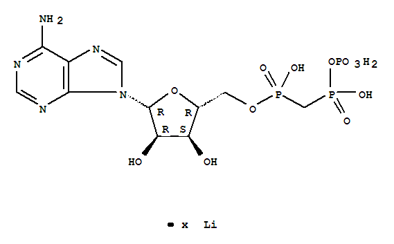 Molecular Structure of 58337-46-5 (Adenosine, 5'-[hydrogen[[hydroxy(phosphonooxy)phosphinyl]methyl]phosphonate], lithium salt (9CI))