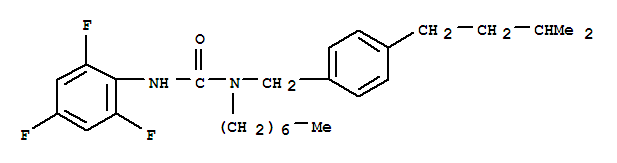 107376-73-8,Urea,N-heptyl-N-[[4-(3-methylbutyl)phenyl]methyl]-N'-(2,4,6-trifluorophenyl)-,CL 283546