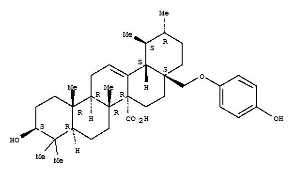 Molecular Structure of 131916-90-0 (Urs-12-en-27-oic acid,3-hydroxy-28-(4-hydroxyphenoxy)-, (3b)- (9CI))