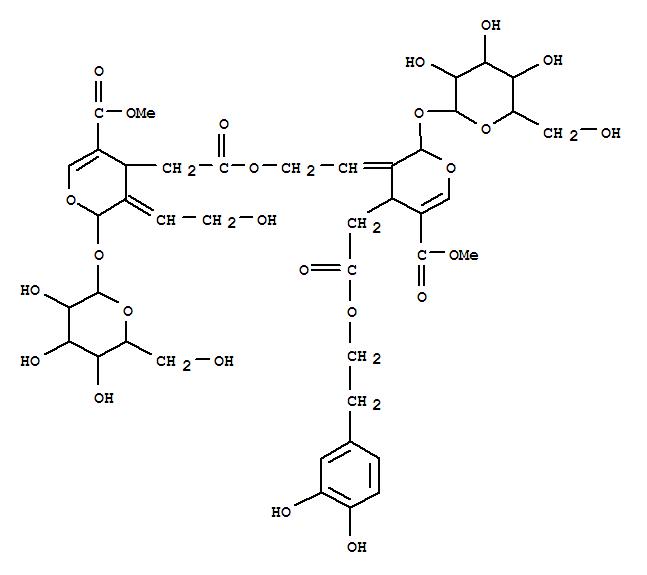 147742-02-7,2H-Pyran-4-acetic acid,2-(b-D-glucopyranosyloxy)-3,4-dihydro-3-(2-hydroxyethylidene)-5-(methoxycarbonyl)-,2-[(2S,3E,4S)-4-[2-[2-(3,4-dihydroxyphenyl)ethoxy]-2-oxoethyl]-2-(b-D-glucopyranosyloxy)-5-(methoxycarbonyl)-2H-pyran-3(4H)-ylidene]ethylester, (2S,3E,4S)- (9CI),2H-Pyran-4-aceticacid, 2-(b-D-glucopyranosyloxy)-3,4-dihydro-3-(2-hydroxyethylidene)-5-(methoxycarbonyl)-,2-[4-[2-[2-(3,4-dihydroxyphenyl)ethoxy]-2-oxoethyl]-2-(b-D-glucopyranosyloxy)-5-(methoxycarbonyl)-2H-pyran-3(4H)-ylidene]ethylester, [2S-[2a,3E(2R*,3E,4R*),4b]]-; Jasamplexoside C