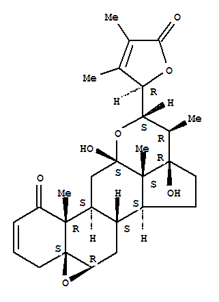 Molecular Structure of 110201-57-5 (Ergosta-2,24-dien-26-oicacid, 5,6:12,22-diepoxy-12,17,23-trihydroxy-1-oxo-, g-lactone, (5b,6b,12a,17a,22S,23R)-)