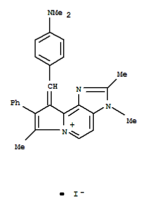 123202-81-3,Imidazo[4,5-g]indolizin-6-ium,9-[[4-(dimethylamino)phenyl]methylene]-3,9-dihydro-2,3,7-trimethyl-8-phenyl-,iodide (1:1),Imidazo[4,5-g]indolizin-6-ium,9-[[4-(dimethylamino)phenyl]methylene]-3,9-dihydro-2,3,7-trimethyl-8-phenyl-,iodide (9CI)