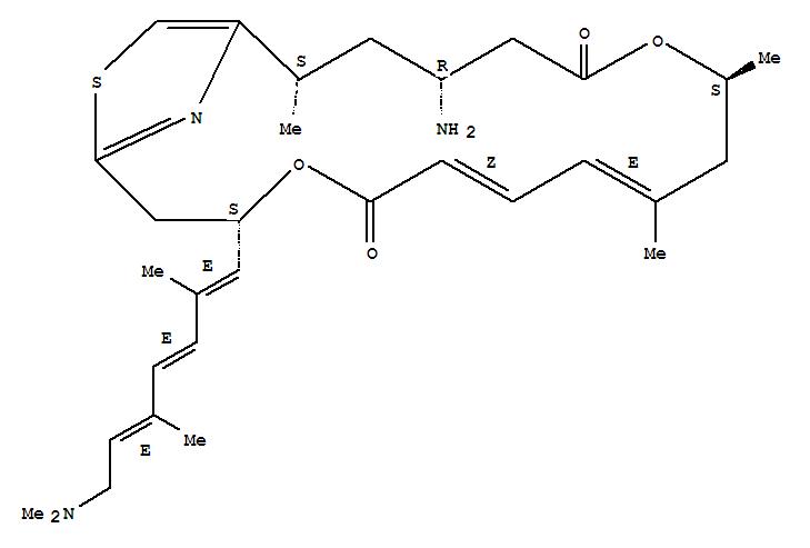 139220-18-1,4,12-Dioxa-20-thia-21-azabicyclo[16.2.1]heneicosa-1(21),6,8,18-tetraene-5,13-dione,15-amino-3-[(1E,3E,5E)-7-(dimethylamino)-2,5-dimethyl-1,3,5-heptatrien-1-yl]-9,11,17-trimethyl-,(3S,6Z,8E,11S,15R,17S)-,4,12-Dioxa-20-thia-21-azabicyclo[16.2.1]heneicosa-1(21),6,8,18-tetraene-5,13-dione,15-amino-3-[(1E,3E,5E)-7-(dimethylamino)-2,5-dimethyl-1,3,5-heptatrienyl]-9,11,17-trimethyl-,(3S,6Z,8E,11S,15R,17S)- (9CI);4,12-Dioxa-20-thia-21-azabicyclo[16.2.1]heneicosa-1(21),6,8,18-tetraene-5,13-dione,15-amino-3-[7-(dimethylamino)-2,5-dimethyl-1,3,5-heptatrienyl]-9,11,17-trimethyl-,[3S-[3R*(1E,3E,5E),6Z,8E,11R*,15S*,17R*]]-; (-)-Pateamine; (-)-Pateamine A;Pateamine; Pateamine A