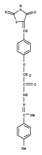 139298-36-5,Acetic acid,2-[4-[(4-oxo-2-thioxo-5-thiazolidinylidene)methyl]phenoxy]-,2-[1-(4-methylphenyl)ethylidene]hydrazide,Aceticacid, [4-[(4-oxo-2-thioxo-5-thiazolidinylidene)methyl]phenoxy]-,[1-(4-methylphenyl)ethylidene]hydrazide (9CI)