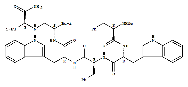152369-60-3,L-Leucinamide,N-methyl-D-phenylalanyl-D-tryptophyl-L-phenylalanyl-D-tryptophyl-L-leucyl-y(CH2-NH)- (9CI),D-Tryptophanamide,N-methyl-D-phenylalanyl-D-tryptophyl-L-phenylalanyl-N-[1-[[[1-(aminocarbonyl)-3-methylbutyl]amino]methyl]-3-methylbutyl]-,[S-(R*,R*)]-; B 10222; NY 3460