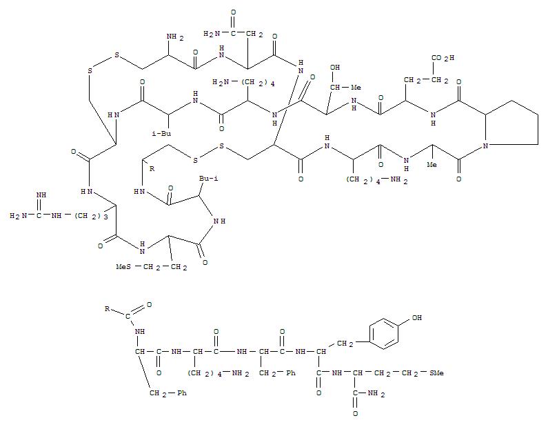 184688-00-4,L-Methioninamide,L-cysteinyl-L-asparaginyl-L-cysteinyl-L-lysyl-L-alanyl-L-prolyl-L-a-glutamyl-L-threonyl-L-lysyl-L-leucyl-L-cysteinyl-L-arginyl-L-methionyl-L-leucyl-L-cysteinyl-L-phenylalanyl-L-lysyl-L-phenylalanyl-L-tyrosyl-,cyclic (1®11),(3®15)-bis(disulfide) (9CI),Ro25-2739