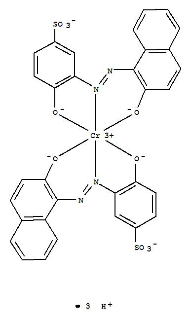 19154-30-4,Chromate(3-),bis[4-(hydroxy-kO)-3-[2-[2-(hydroxy-kO)-1-naphthalenyl]diazenyl-kN1]benzenesulfonato(3-)]-,hydrogen (1:3),Chromate(3-),bis[4-(hydroxy-kO)-3-[[2-(hydroxy-kO)-1-naphthalenyl]azo-kN1]benzenesulfonato(3-)]-,trihydrogen (9CI); Chromate(3-),bis[4-hydroxy-3-[(2-hydroxy-1-naphthalenyl)azo]benzenesulfonato(3-)]-,trihydrogen; Chromate(3-), bis[4-hydroxy-3-[(2-hydroxy-1-naphthyl)azo]benzenesulfonato(3-)]-,trihydrogen (8CI); Benzenesulfonic acid,4-hydroxy-3-[(2-hydroxy-1-naphthalenyl)azo]-, chromium complex