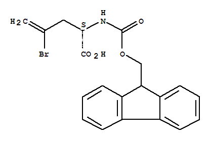 Molecular Structure of 220497-60-9 (4-Pentenoic acid,4-bromo-2-[[(9H-fluoren-9-ylmethoxy)carbonyl]amino]-, (2S)-)