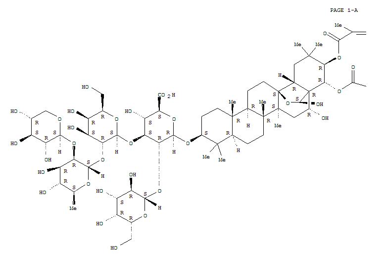 221467-40-9,b-D-Glucopyranosiduronic acid, (3b,16a,21b,22a,28S)-13,28-epoxy-16,28-dihydroxy-21-[[(2Z)-2-methyl-1-oxo-2-butenyl]oxy]-22-(2-methyl-1-oxobutoxy)oleanan-3-ylO-b-D-galactopyranosyl-(1®2)-O-[O-b-D-xylopyranosyl-(1®2)-O-6-deoxy-a-L-mannopyranosyl-(1®2)-b-D-galactopyranosyl-(1®3)]- (9CI),MaejaposideD